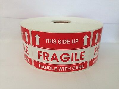 100 Labels 2x3 FRAGILE / THIS SIDE UP Shipping Mailing Warning Stickers