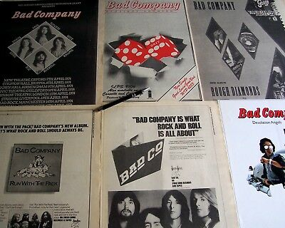 BAD COMPANY Lot of 6 Poster Ads 1974 - 1982