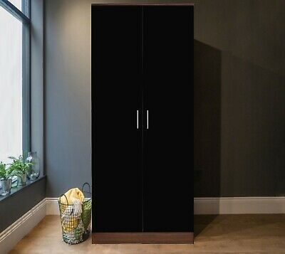 REFLECT 2 Door Soft Close Plain Wardrobe in Gloss Black / Walnut - Bedroom