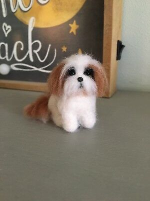 Needle Felted Shih Tzu Miniature Dog Dolls House Collectable OOAK