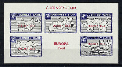 Sark 1964 Europa Imperforate Miniature Sheet Pink Not Red Scarce Mnh