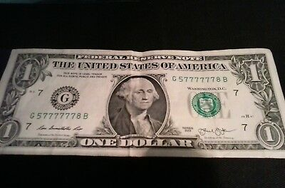 6 of  Kind Fancy Serial 6-777777 in ROW. $1 Dollar Bill 6/8   FRN LIARS COLLECT