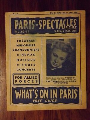 WWII PARIS SPECTACLES - whats on in Paris for allied forces 25/4 - 1/5 1945