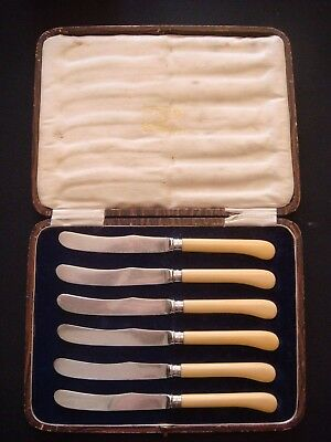 A Boxed Set of Antique Flatware with Silver Bands by George Wish, Sheffield 1913