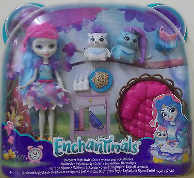 Enchantimals ~ Sleepover Night Owls Set ~ Inc Ohana Owl Doll Pet & 2 Owl Pets