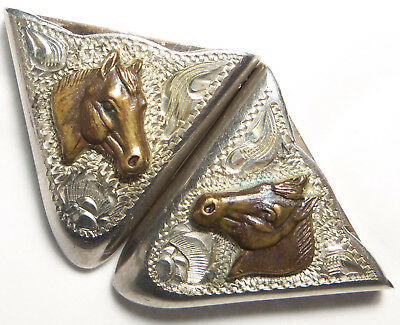 Vintage Western Sterling Silver Collar Tips APPLIED HORSE HEADS ENGRAVED DESIGNS