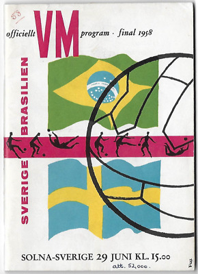 RARE 1958 World Cup final programme: original: Brazil v Sweden
