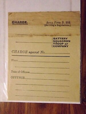 WWI unused charge sheet ARMY FORM B.252 Aug 1917