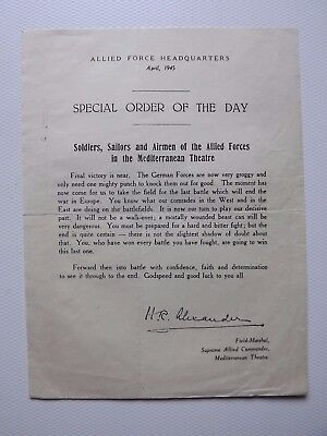 WWII Field-Marshall ALEXANDER'S special order of the day 1945 MEDITERRANEAN