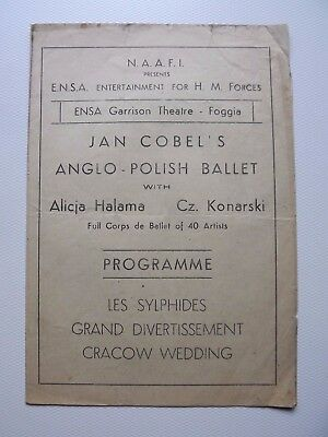 WWII programme for JAN COBEL'S ANGLO-POLISH ballet CRACOW WEDDING Foggia