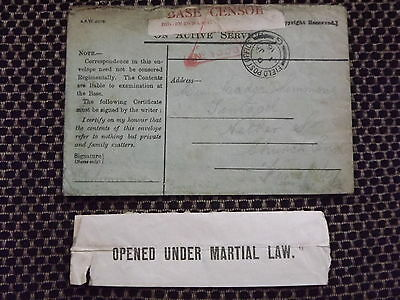 WWI envelope FPO 1st January 1916 censorship OPENED UNDER MARTIAL LAW