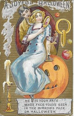 """A Joyful Halloween"" Vintage Embossed Rings, Fate, MIrrors, Jack o Lantern 1913"