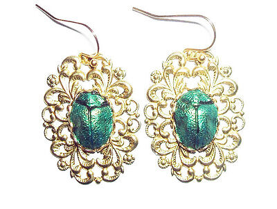 Earrings EGYPTIAN REVIVAL SCARAB Metallic Green Beetle Gold Pltd Vintage Style