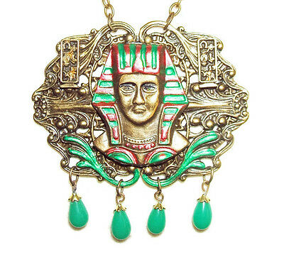 EGYPTIAN REVIVAL Necklace KING TUT Jade Glass Drops HEIROGLYPHICS Signed