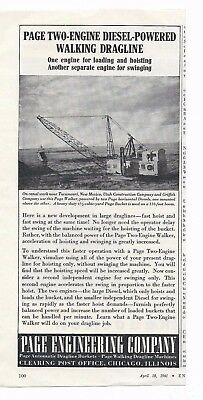 1941 Page Engineering Co. Chicago Page Two Engine Powered Walking Dragline  ad