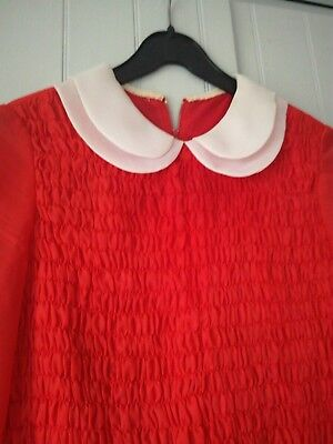 Vintage 1960's red and white peter pan collar sleeves dress