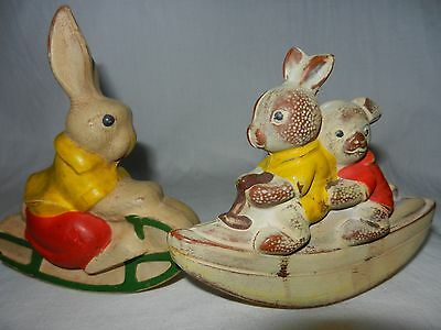 VINTAGE SOVIET RUSSIAN DOLL TOY FIGURINE 1950s Rubber panda hare RARE OLD USSR