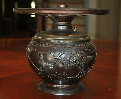 Japanese Aesthetic Bronze Oil Lamp Base Electrified