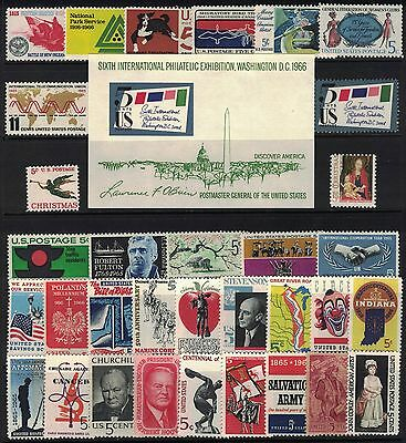 U.s. 1965 + 1966 -- 2 Years Of Commemorative Stamp Year Sets **mnh**