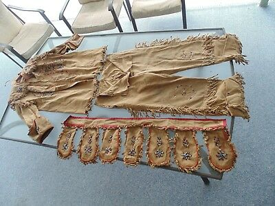 Vintage Native American Indian Beaded Jacket Pants Belt Headdress Bonnet Outfit