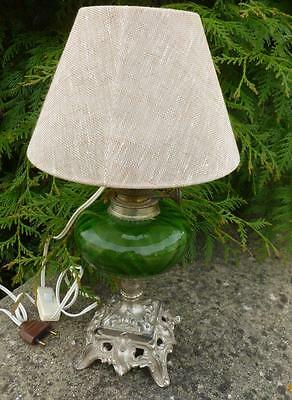 Antique French Heavy Green Glass Oil Lamp Converted To A Lamp