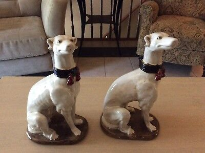 Large Vintage Seated Ceramic Greyhound / Whippet Figure Hand Painted