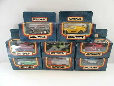 8x Matchbox Superfast - Dark Blue Window Boxes (late 1980's/1990's) - Mint/boxed