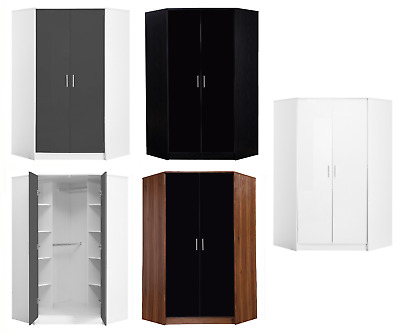 REFLECT 2 Door Soft Close Plain Corner Wardrobe High Gloss Bedroom 4 Colours