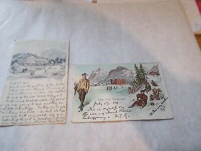 2 Attractive Edwardian Swiss Hotels Advertising Postcards. 1904 & 1905