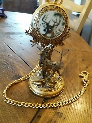The Franklin Mint Stag  The Official 10 point Buck pocket watch and stand