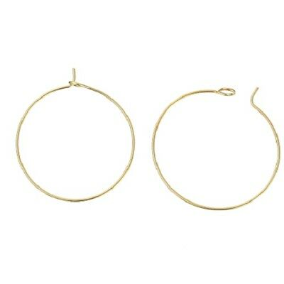 LOT de 12 CREOLES CERCLES 30mm fabrication BOUCLES D'OREILLES DORE SANS NICKEL