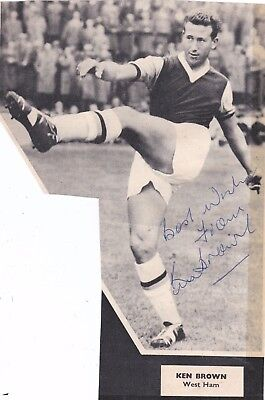 Signed Ken Brown West Ham United Torquay England Norwich Plymouth 1950s 1960s +
