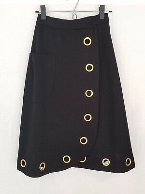 Vtg 60s ARBE IMPORTS Italy Mod Wool Black A-line Skirt Big Gold Grommets XS/S