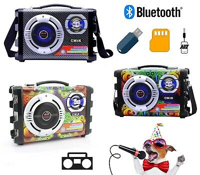 Cassa Portatile Radio Usb Led Bluetooth Mp3 Smartphone Speaker Tablet Pc Karaoke