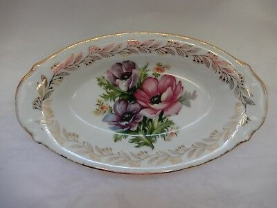 Vintage Chase Japan Oval Oblong Dish Hand Painted Floral and Gold Embellished