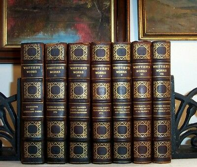 1892 Set of Antique Fine Leather Bindings WHITTIER New England Slavery Indians