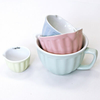 Set Of 4 Shabby Chic Pastel Kitchen Measuring Cups In Green Pink Blue & Yellow