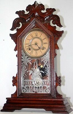 Antique Running Ansonia 1890's Carved Walnut Ornate Parlor Eastlake Mantel Clock
