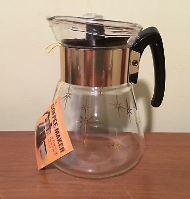 Mid Century Maxwell House Corning Glass Starburst 6 Cup Coffee Pot Carafe