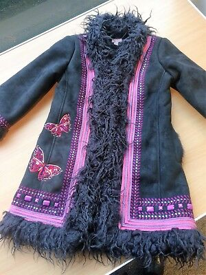 Monsoon Beautiful Girls warm suede Winter Coat - Size 4 to 6 years