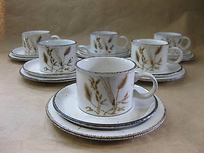 Vintage Midwinter Stonehenge Wild Oats 6 Cups, Saucers & Plates ~ 6 Trios