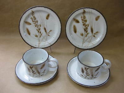 Vintage Midwinter Stonehenge Wild Oats 2 Cups, Saucers & Plates ~ 2 Trios