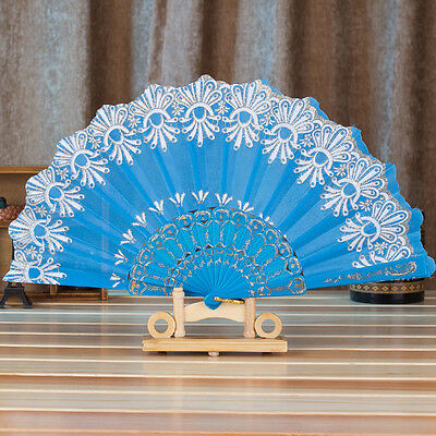 Chinese Style Dance Wedding Party Lace Silk Folding Hand Held Flower Fan SB
