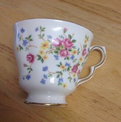 Queen Anne Bone China Single Cup Country Bouquet Pattern.