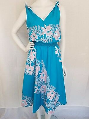 Vtg 70s/80s HELENA'S Hawaiian Sundress Bow Straps Teal White Pink Floral MEDIUM