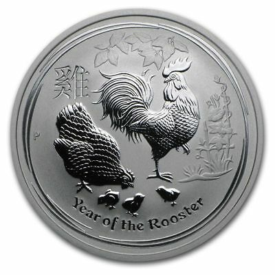 2017 1/2 oz Gem BU Australian Silver Year of the Rooster Coin - In a capsule