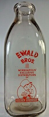 Vintage  Ewald Bros Minneapolis Mn Golden Guernsey  Milk Glass Jar