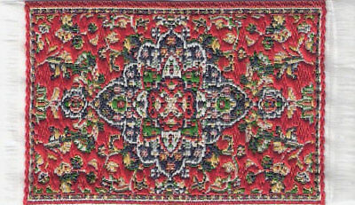Turkish Carpet Rug Red Patterned Doll House Miniature Soft Decor Floor Accessory
