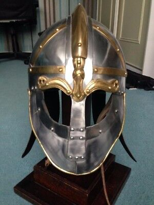 Steel VIKING or ANGLO-SAXON helmet, leather-lined with strap