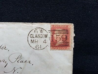 1861 QV COVER - GLASGOW 159 DUPLEX ON 1d RED STAR - RED LONDON BACKSTAMP